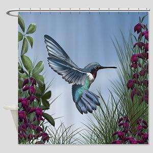 Blue Ruby Hummingbird Shower Curtain
