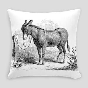 Vintage Donkey Black White Illustr Everyday Pillow