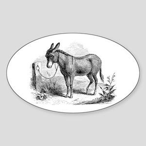 Vintage Donkey Black White Illustration Sticker
