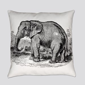 Vintage African Elephant Black Whi Everyday Pillow