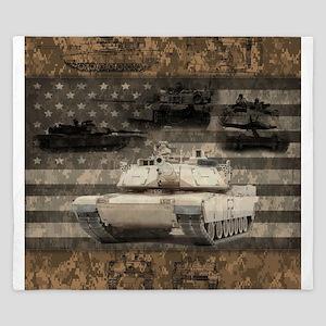 Tank Desert Camo Patriotic Flag King Duvet