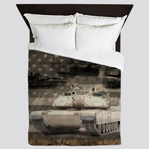 Tank Desert Camo Patriotic Flag Queen Duvet