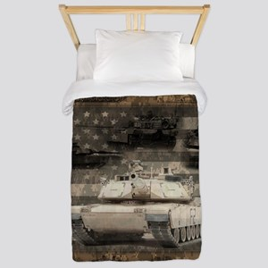 Tank Desert Camo Patriotic Flag Twin Duvet Cover