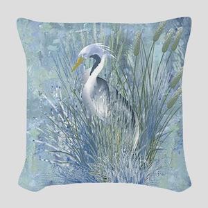 Heron Elegance Woven Throw Pillow