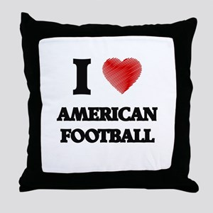 I Love American Football Throw Pillow