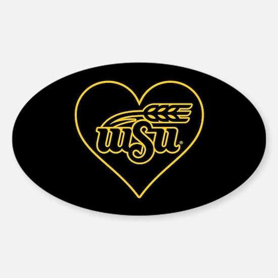 WSU Heart Sticker (Oval)