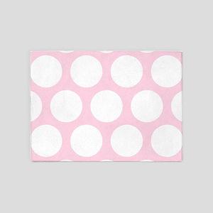 Pink, Baby: Polka Dots Pattern (Lar 5'x7'Area Rug