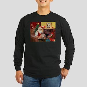 Santa's Tibetan Spaniel Long Sleeve Dark T-Shirt