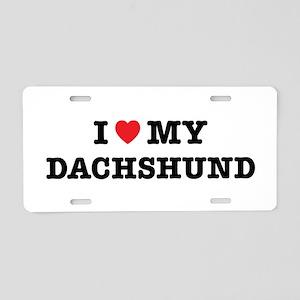 I Heart My Dachshund Aluminum License Plate
