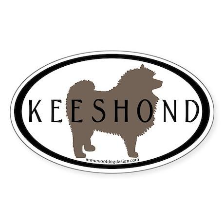 Keeshond Dog & Text (inner border) Oval Sticker
