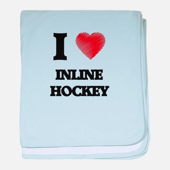 I Love Inline Hockey baby blanket