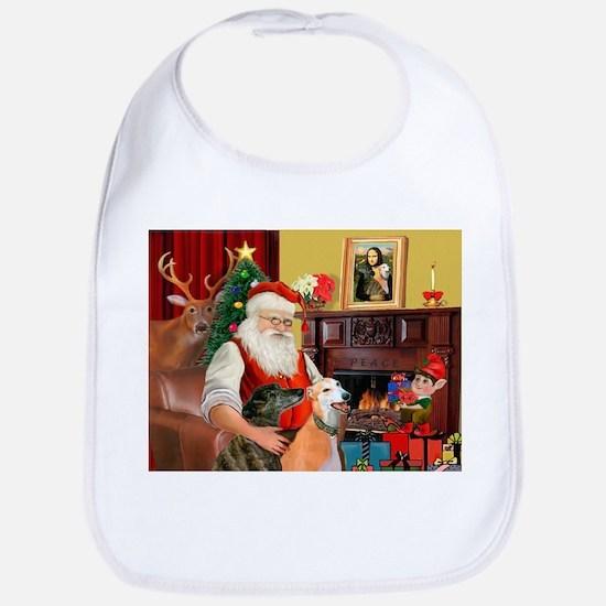 Santa's Greyhound pair Bib