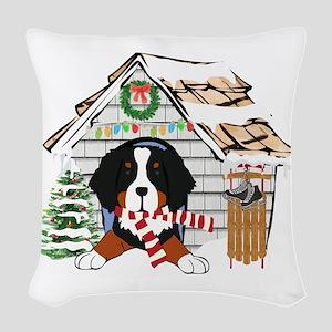Bernese Mt Dog Xmas Doghouse Woven Throw Pillow
