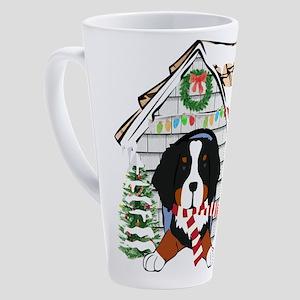 Bernese Mt Dog Xmas Doghouse 17 oz Latte Mug