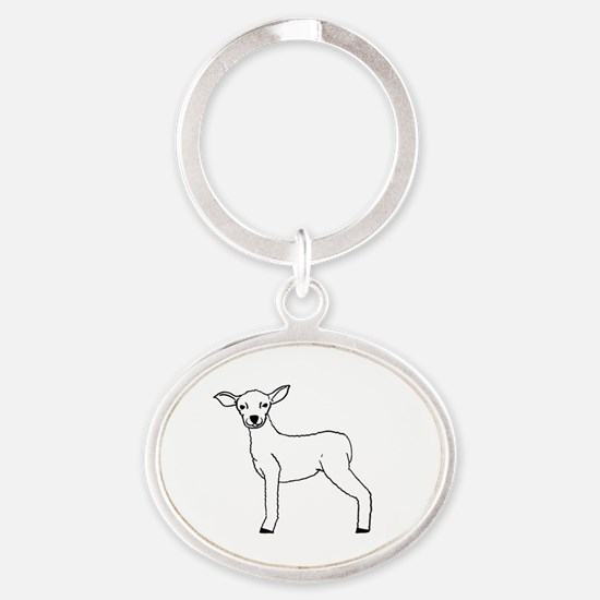 Unique Lamb of god Oval Keychain