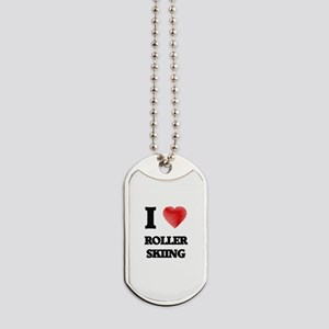 I Love Roller Skiing Dog Tags
