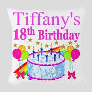 PERSONALIZED 18TH Woven Throw Pillow