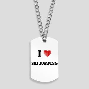 I Love Ski Jumping Dog Tags