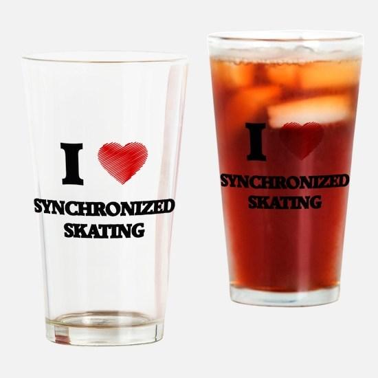 I Love Synchronized Skating Drinking Glass