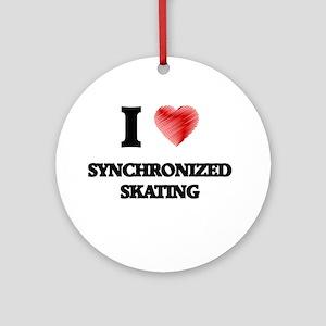 I Love Synchronized Skating Round Ornament