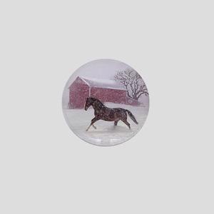 Let It Snow! Christmas Horse Barn Mini Button