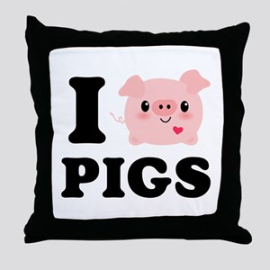 I Love Pigs Throw Pillow