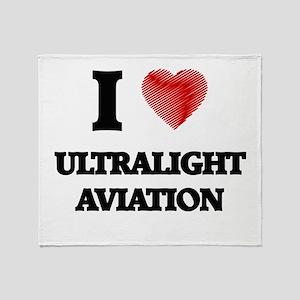I Love Ultralight Aviation Throw Blanket
