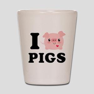 I Love Pigs Shot Glass