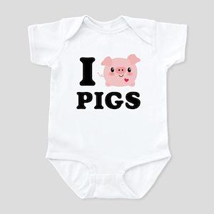 I Love Pigs Baby Light Bodysuit