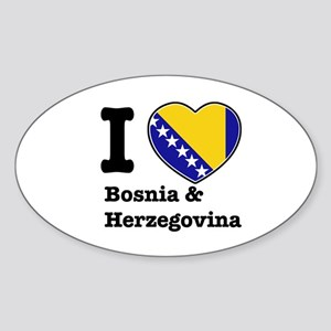 I love Bosnia and Herzegovina Oval Sticker