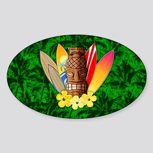 Surfboards And Tiki Mask Palm Trees Sticker