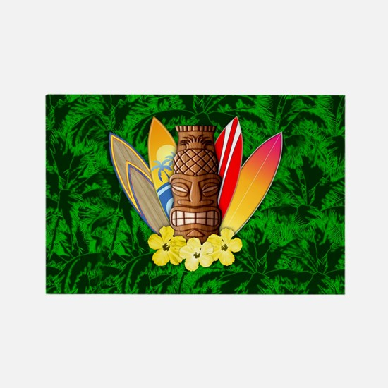 Surfboards And Tiki Mask Palm Trees Magnets