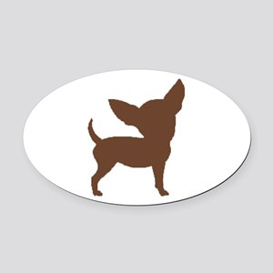 Chihuahua Two Brown 1C Oval Car Magnet