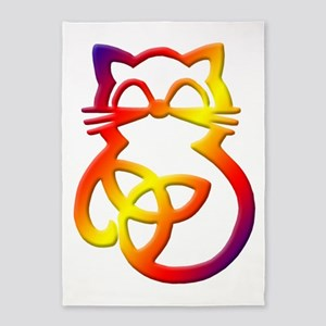 Rainbow Trinity Knot Celtic Cat 5'x7'Area Rug