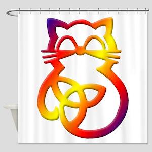 Rainbow Trinity Knot Celtic Cat Shower Curtain