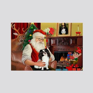 Santa's Japanese Chin Rectangle Magnet