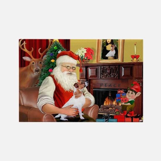 Santa's Jack Russell Rectangle Magnet