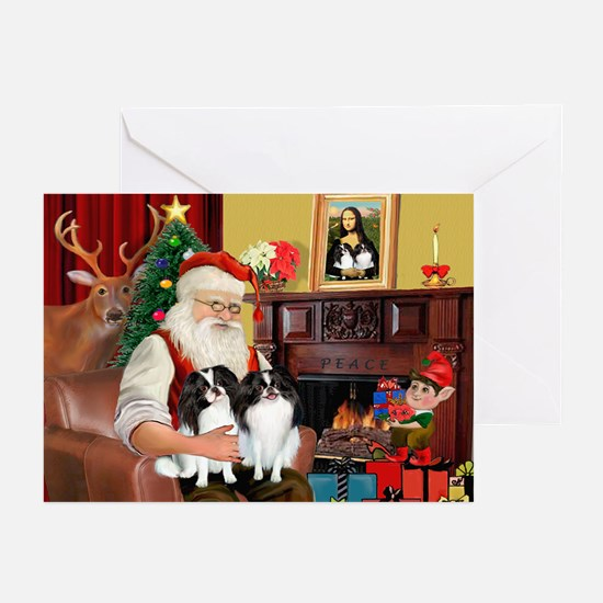 Santa's 2 Japanese Chins Greeting Cards (Pk of 20)