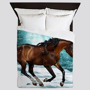 Winter Theme Arabian Horse Queen Duvet
