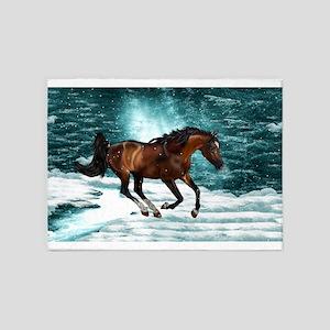 Winter Theme Arabian Horse 5'x7'Area Rug