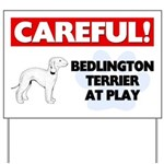 Careful Bedlington Terrier At Play Yard Sign