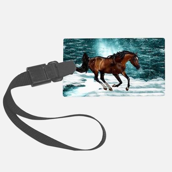 Winter Theme Arabian Horse Luggage Tag
