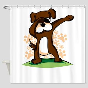 Dabbing Boxer Dog Shower Curtain