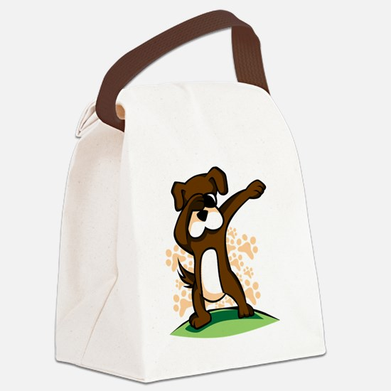 Dabbing Boxer Dog Canvas Lunch Bag
