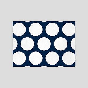 Blue, Navy: Polka Dots Pattern (Lar 5'x7'Area Rug