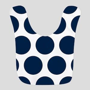 Blue, Navy: Polka Dots Pattern Polyester Baby Bib