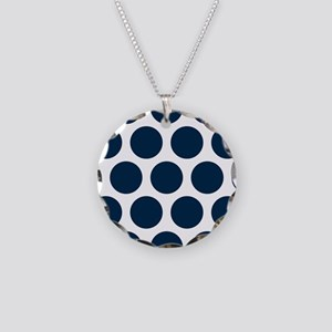 Blue, Navy: Polka Dots Patte Necklace Circle Charm
