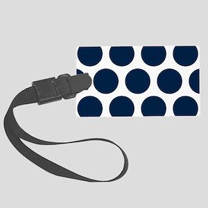 Blue, Navy: Polka Dots Pattern ( Large Luggage Tag