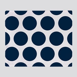 Blue, Navy: Polka Dots Pattern (Larg Throw Blanket