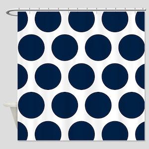 Blue, Navy: Polka Dots Pattern (Lar Shower Curtain
